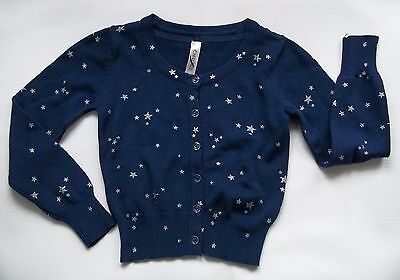 GIRLS 100% COTTON PATRIOTIC NAVY BLUE  with SILVER STARS CARDIGAN SWEATER