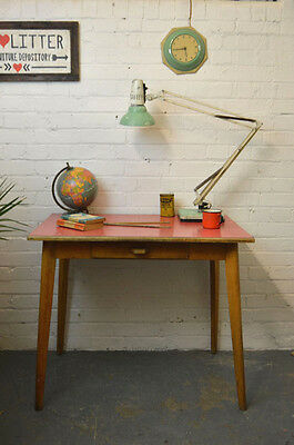 Vintage Mid Century Red Formica Table Dining Kitchen