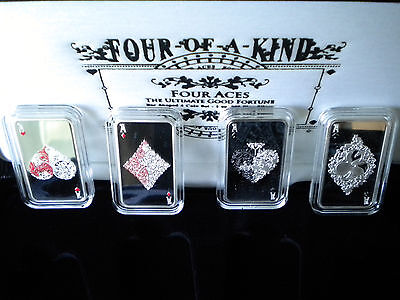 2015 1 oz Tokelau Four Aces Proof Silver Four Coin Set - Mintage of only 500 Set