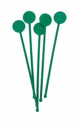 "7"" Green Disc Cocktail Stirrers Swizzle Mixer Sticks Pack Of 25"