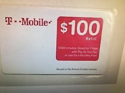 T-Mobile Tmobile $100 Prepaid Refill Card - Free Shipping - Brand New & Sealed