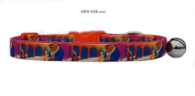 "EXCLUSIVE pink orange   ""Beauty & the Beast  "" safety kitten cat collar 3 sizes"