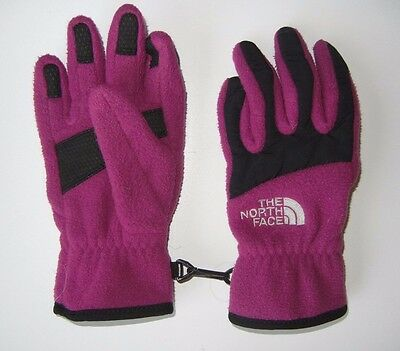 THE NORTH FACE Pink Warm FLEECE GLOVES Winter Ski Size YOUTH SMALL Girls 7/8
