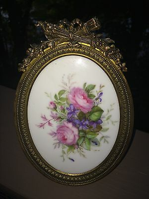 Antique French hand-painted floral on porcelain in bronze frame