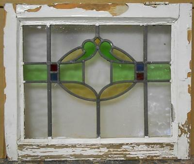 "OLD ENGLISH LEADED STAINED GLASS WINDOW Nice Abstract 19.75"" x 16.75"""