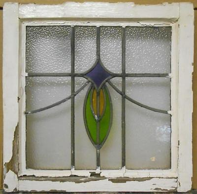 """OLD ENGLISH LEADED STAINED GLASS WINDOW Floral Swag 18"""" x 18"""""""