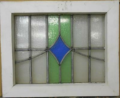 """OLD ENGLISH LEADED STAINED GLASS WINDOW Pretty Geometric 18.25"""" x 15"""""""