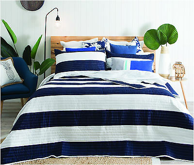 Quilted Bedspread Navy White Stripe Quilt Bedspread Set Includes Pillowshams