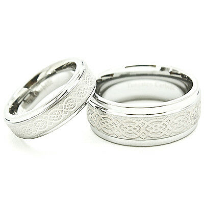 Matching 6mm & 9mm Tungsten Carbide w/ Silver Celtic Love Knot Wedding Band Set
