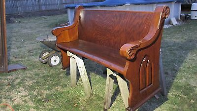 "Antique Quartersawn Tiger Grain Oak Church Pew Gothic 60"" 1916 #19"