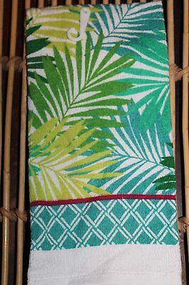 COTTON KITCHEN TERRY DISH TOWEL Inspirational Summer Tropical Palm Leaves