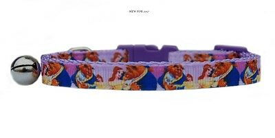 """EXCLUSIVE pink purple  """"Beauty & the Beast  """" safety kitten cat collar 3 sizes"""