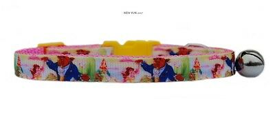 "EXCLUSIVE pink yellow  ""Beauty & the Beast  "" safety kitten cat collar 3 sizes"