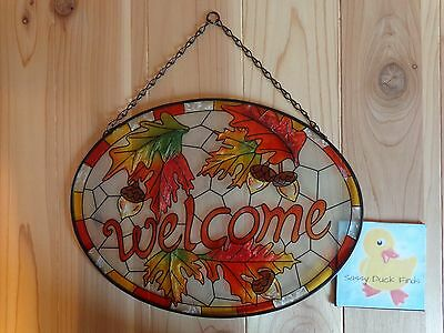"Stained Glass Suncatcher WELCOME 12"" x 9"" AUTUMN LEAVES Acorns Chain Hanger"