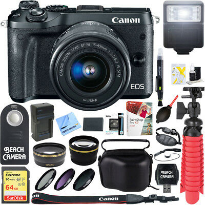 Canon M6 EOS Mirrorless Digital Camera + 15-45mm IS STM Lens Accessory Bundle