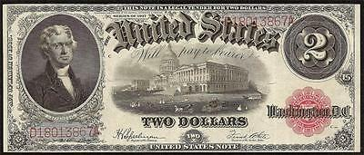 Large 1917 $2 Two Dollar Bill United States Legal Tender Note Crisp Currency F60
