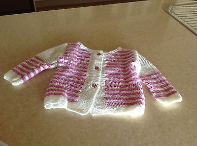 1 Hand Knitted New Cardigan Girl Size 2-3 Year Old