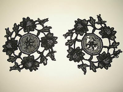 "LP66 Vintage Black Lace Doily Applique 2pc Crocket Trim 4.5"" diameter"