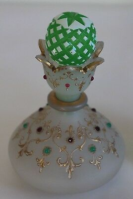 French Opaline White Glass Red Green Jewelled Perfume Bottle  Cut Glass Stopper
