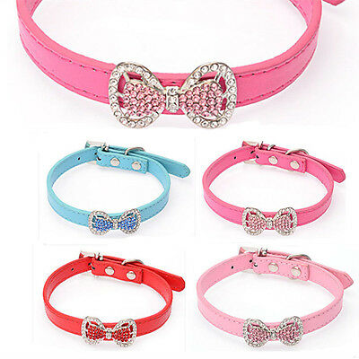 Fashion Bling Rhinestone Bowknot Puppy Collars Bow Necklace Pet Dog Collars