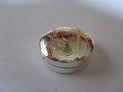 Sterling Silver Pill Box round 925 solid silver 1 1/4 inches Hallmarked Engraved