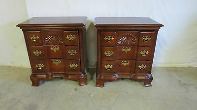 Pair Nightstands Tables Block-front Mahogany Set