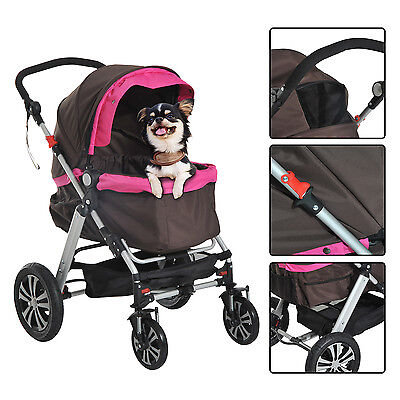 Pawhut Pet Travel Stroller Pushchair Dog Puppy Cat Jogger Buggy Foldable Wheels