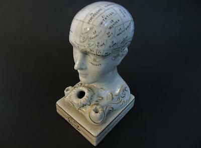 ANTIQUE BENNINGTON POTTERY PHRENOLOGY MEDICAL SCIENCE HEAD INKWELL c.1845