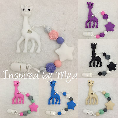 giraffe teether teething clip silicone baby dummy toy shower gift flower soother