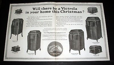 1914 Old Magazine Print Ad, Victor, A Victrola In Your Home For Christmas, Art!