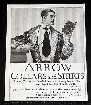 1914 Old Magazine Print Ad, Arrow Collars And Shirts, Dudley & Norman, Fashion!