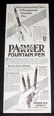 1914 Old Magazine Print Ad, Parker, Something New, A Transparent Fountain Pen!