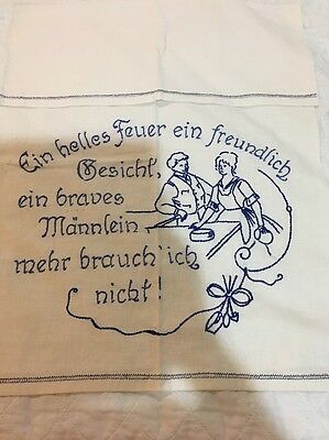 German Blue Vintage Antique Towel Blue Work Embroidery