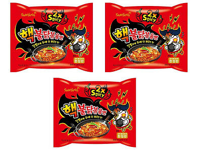 """""""Limited Edition""""Korea 2X Spicy Chicken Noodle Nuclear Super Hot Fire Ramen 3PCS"""