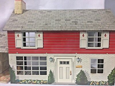 "Vintage Tin Litho Dollhouse 2 Story 32"" x 14"" Colonial House"