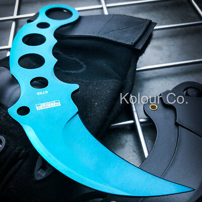 BLUE TACTICAL COMBAT KARAMBIT NECK KNIFE Survival Hunting BOWIE Fixed Blade NEW