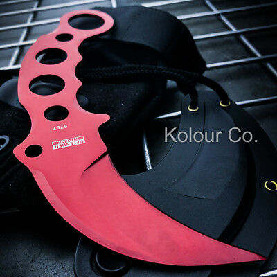 RED TACTICAL COMBAT KARAMBIT NECK KNIFE Survival Hunting BOWIE Fixed Blade NEW