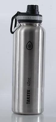 Takeya ThermoFlask Insulated Stainless Steel Water Bottle, 40 oz, Silver