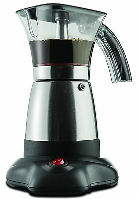 "Brentwood Electric 6 Cup Moka Espresso Maker in Silver - 6.5"" x 9"" x 6"""