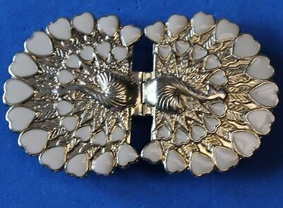 TWO PIECE ART FASHION BELT BUCKLE clip /  -Cream colored Hearts - QUALITY!