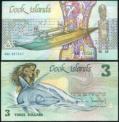 Cook Islands 3 Dollars 1987 P 3 Unc