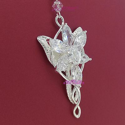Top Quality Lord of the Rings Arwen Evenstar Necklace 18k White Gold GF Diamond