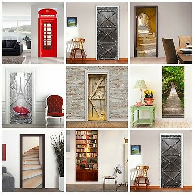 3D Door Wall Fridge Sticker Decals Self Adhesive Mural Scenery Fabric Home Decor