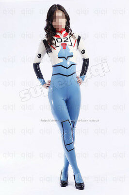 Latex rubber EVA 02 Asuka Langley Catsuit Cosplay Suit