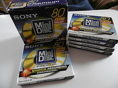 *new Sealed* Sony 5 X 80 Minute Mdw-80D Premium Recordable Blank Mini Discs