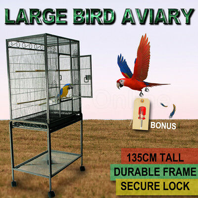 New Bird Cage Parrot Aviary Pet Stand-alone Budgie Perch Castor Wheel Large135cm