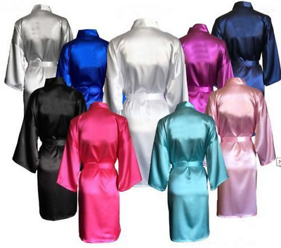 NEW Plain Wedding Bridal Robe Satin Dressing Gown Lingerie Pyjama Sleepwear Silk