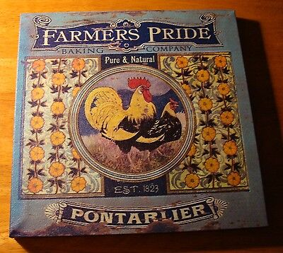 FARMERS PRIDE ROOSTER French Country Blue Kitchen Chicken Sign Home Decor NEW