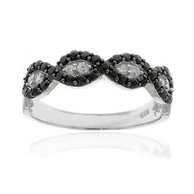 Sterling Silver Black CZ Infinity Knot Women Jewelry Wedding Engagement Ring