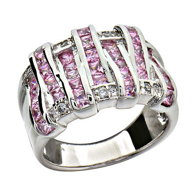 Sterling Silver Princess Pink Cubic Zirconia Eternity Women's Wedding Ring